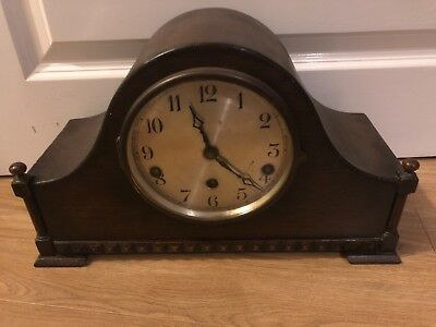 VINTAGE German Wooden MANTLE CLOCK PLEASE READ DESCRIPTION