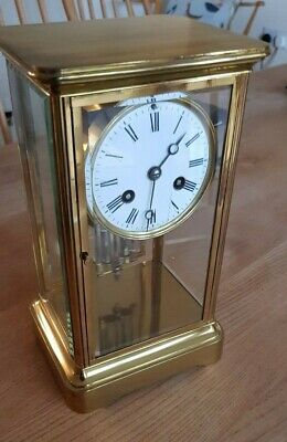 French 8 Day Bell Striking Classic 4 Glass Mantel Clock, Maker B.R