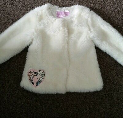 Frozen Girls Faux Fur Coat 4-5 White Cream Winter