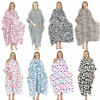 Womens Ladies Animal Print Soft Fur Fleece Lined Hooded Kaftan Poncho Blanket
