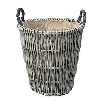 Tall Grey Willow Round Hessian Lined Wicker Log Basket