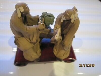 """Chinese Clay Mud Man Ornament - 2 men sitting topiary shears 3"""" tall"""