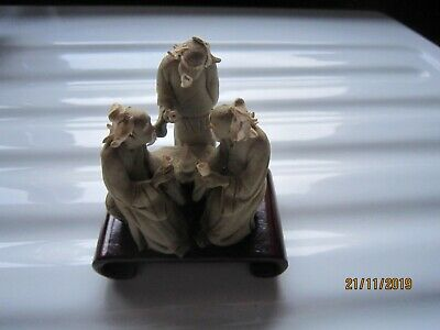 Chinese Clay Mud Man Ornament - 3 Elderly men sitting at table cups in hand