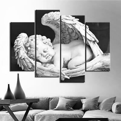 Winged Cupid Black & White Angel Framed 4 Piece Canvas Wall Art Painting Wallpap