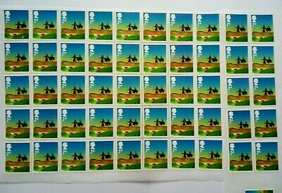 50 2nd CLASS STAMPS 2ND - UNFRANKED OFF PAPER., WITH GUM FV £29#