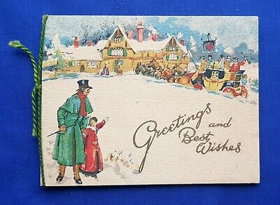 Antique Vintage Early 20th Century Christmas Card - Horse & Carriage in Snow