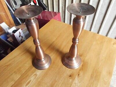 Pair Metal Candlesticks Copper in Colour