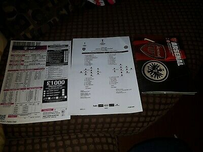 Arsenal V Eintracht Frankfurt Official Match Programme Team Sheet Bet slip