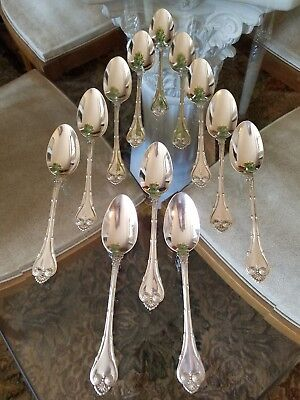 12 Pcs Whiting Empire Sterling Silver Spoons Patent Date Oct 94
