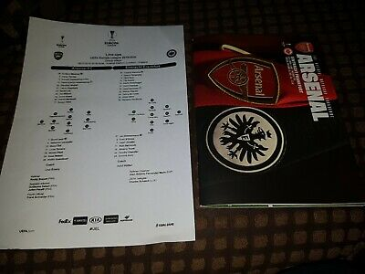 Arsenal V Eintracht Frankfurt Official Match Programme & Team Sheet 28/11/19