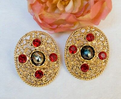 Earrings Ovals Design Byzantine Cabochon in Rhinestone Ruby and Hematite x Clips