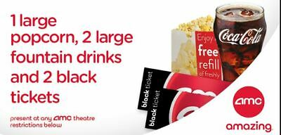 AMC Theaters 2 Black Tickets,  2 Large Fountain Drinks & 1 Large Popcorn