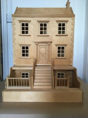 Large Wooden Georgian Style Dolls House: 92cm high - 61cm wide - 60cm deep.