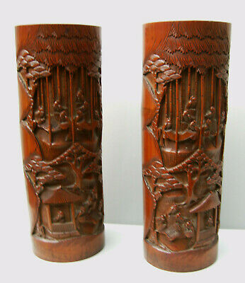 Pair Chinese bamboo large brush pots carved and reticulated figures architecture