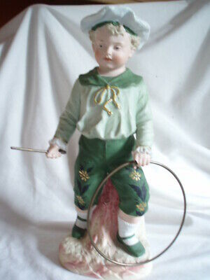 Antique Late 19Th C/Early 20Th C Gebrüder Heubach Bisque Figure Boy Holding Hoop