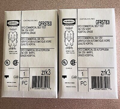 HUBBELL GFRST83I GFCI Receptacle,20A,125VAC,5-20R,Ivory NEW (Lot Of 2)