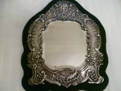 Late 19th Century French Silver Mounted Table Mirror With Mask and Scrolls