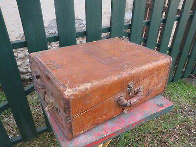 Antique Suitcase Old Luggage Travel Case Years 40 Deco Storage Loft Airess