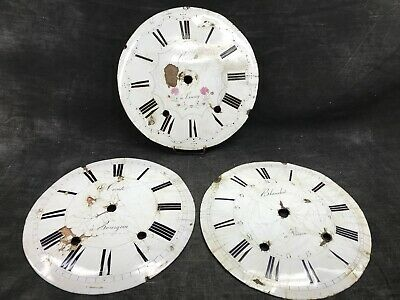 Three Antique Dials D'Clocks Copper Enamelled Clock Pendulum Deco Factory