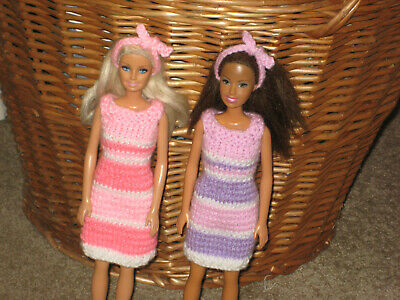 hand knitted Barbie doll clothes - dresses & hairbands - TWO OUTFIT BUNDLE