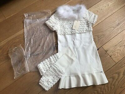 New Miss Grant Girls Christmas Dress Outfit 9 Yrs Cost £153 Faux Fur Collar