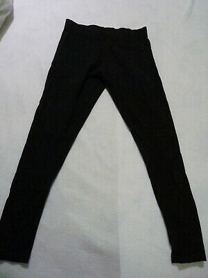 NEXT BLACK COTTON RIBBED STRETCH GIRL LEGGINGS. AGE 11YEARS (146 cm)