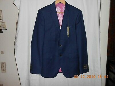 "M&S SAVILE ROW INSPRED PURE NEW WOOL MEDIUM FIT JACKET BLUE UK 36"" Chest NEW"
