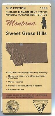 USGS BLM edition topographic map Montana SWEET GRASS HILLS -1999- mineral - bent