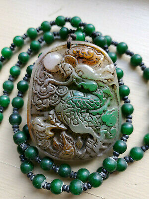 Antique Multi Color Jade Carved Pendant with Necklace