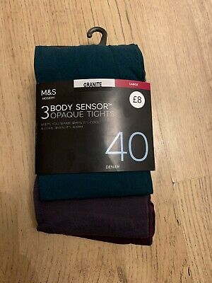 Marks & Spencer 3 Pack Mixed Body Sensor Opaque Tights 40 Denier Large Bnwt