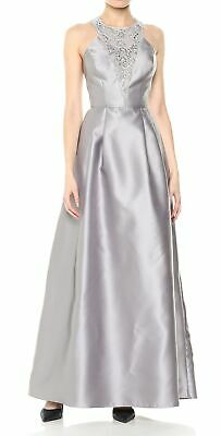 Adrianna Papell Women's Gray Size 2 Embellished Cross Back Gown Dress