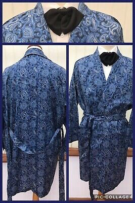 VINTAGE SILKY DRESSING GOWN SMOKING JACKET ROBE HOST DANDY  44C 60s 70s M/L M14