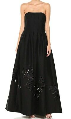 Halston Womens Dress Black Size 6 Cutout Structure Strapless Prom Gown