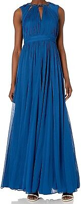 Adrianna Papell Women's Dress Blue Size 4 Gown Gathered Embellished