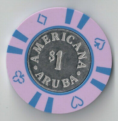 $1 Aruba Americana Casino Chip Poker Craps Island Coin Inlay