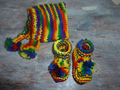 Hand knitted Rainbow baby booties and hat newborn reborn baby shower,pom poms