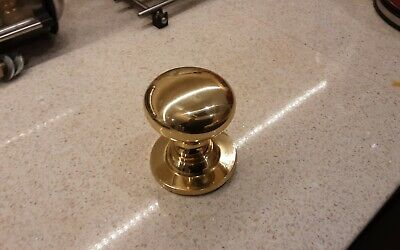 Solid Heavy Cast Polished Brass Victorian Centre Door Knob (Fixed Knob)