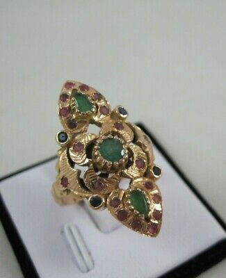 Vintage 14k Solid Yellow Gold 7g Ring Ruby Emerald Sapphire sz 7.75 Victorian