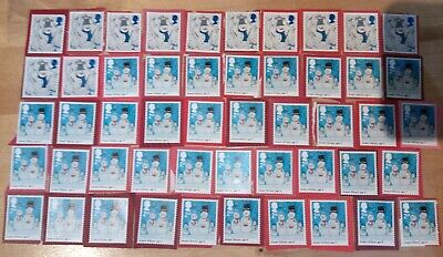 50 2nd CLASS ROYAL MAIL STAMPS 2ND - UNFRANKED ON PAPER. FV £29