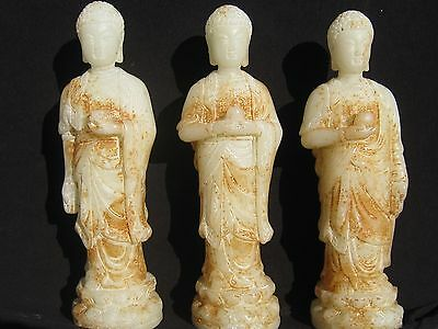 WOW! 3x 19th Century Chinese White/Russet Nephrite Jade Buddahs CHINA