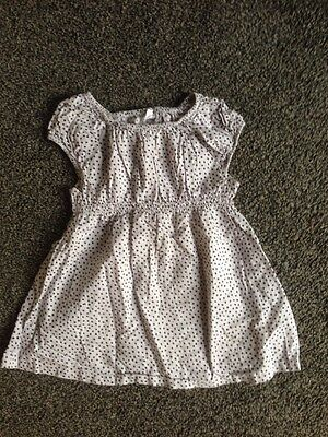 Girls, Black & Grey Spotted H&M Dress, 9-12 Months, Pick Up Or Post.