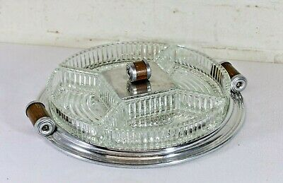 Antique Art Deco Hors d'oeuvres Tray French 1930s Mirrored Base Crystal Dishes