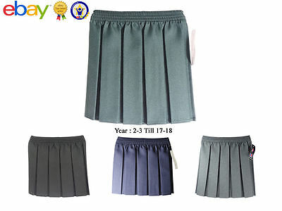 UK New Girls Skirt Elasticated Waist School Uniform Polyester Box Pleated Kids
