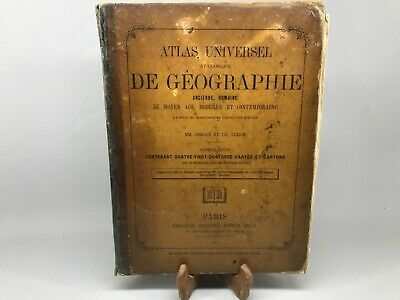 Book Old,Atlas Set Universal Geography 1885 / Old Book Missing One Map