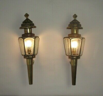 Pair Antique French Brass & Copper Wall Mounted Etched Glass Coach Lantern  1551