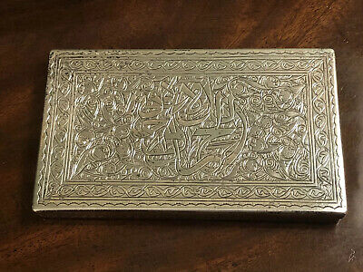 Hallmarked Egyptian Silver Persian Style Box Cigarette Case Embossed Design