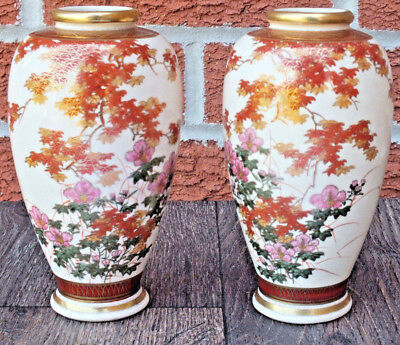 Vintage Pair of Satsuma Vases - Nice Quality Decoration - 20th Century