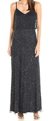 Adrianna Papell Women's Dress Blue Size 12 Gown Embellished Blouson