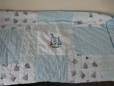 Monsoon Yacht/Boat Single Quilted Bedspread Sham VGC