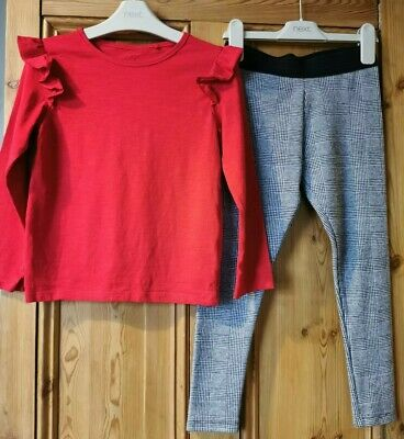 Girls Next Grey Checked Leggings & Red Long Sleeve Top Age 6-7 Years